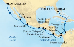 LUXURY CRUISES - Penthouse, Veranda, Balconies, Windows and Suites Seabourn Odyssey Cruise Map Detail Fort Lauderdale, Florida, US to Los Angeles, California, US December 15 2018 January 4 2019 - 20 Days - Voyage 4574