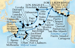 LUXURY CRUISES - Balconies and Suites Seabourn Odyssey Cruise Map Detail Fort Lauderdale, Florida, US to Los Angeles, California, US December 15 2018 March 21 2019 - 97 Days - Voyage 4574C