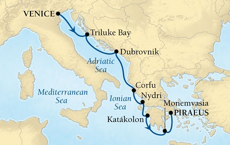 Seabourn Odyssey Cruise Map Detail Venice, Italy to Piraeus (Athens), Greece July 25 July 1 2015 - 7 Days - Voyage 4542