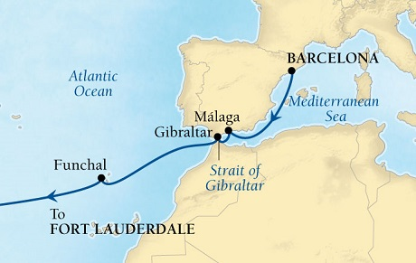Seabourn Odyssey Cruise Map Detail Barcelona, Spain to Fort Lauderdale, Florida, US October 13-28 2015 - 15 Days - Voyage 4563