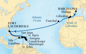 LUXURY CRUISES - Balconies and Suites Seabourn Odyssey Cruise Map Detail Barcelona, Spain to Fort Lauderdale, Florida, US October 13 November 9 2018 - 27 Days - Voyage 4563A