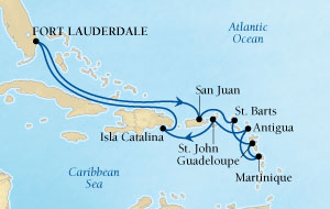 LUXURY WORLD CRUISES - Penthouse, Veranda, Balconies, Windows and Suites Seabourn Odyssey Cruise Map Detail Fort Lauderdale, Florida, US to Fort Lauderdale, Florida, US October 28 November 9 2021 - 12 Days - Voyage 4566