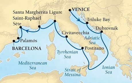 Seabourn Odyssey Cruise Map Detail Venice, Italy to Barcelona, Spain October 3-13 2015 - 10 Days - Voyage 4562