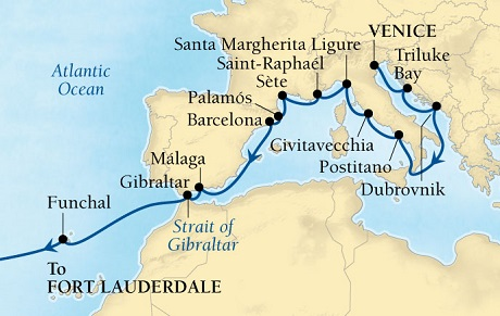 LUXURY CRUISES - Penthouse, Veranda, Balconies, Windows and Suites Seabourn Odyssey Cruise Map Detail Venice, Italy to Fort Lauderdale, Florida, US October 3-28 2018 - 25 Days - Voyage 4562A