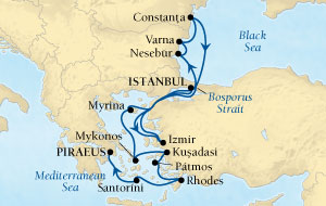 LUXURY CRUISES - Penthouse, Veranda, Balconies, Windows and Suites Seabourn Odyssey Cruise Map Detail Istanbul, Turkey to Istanbul, Turkey September 12-19 2018 - 7 Days - Voyage 4555