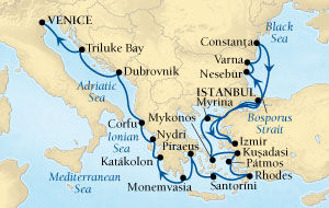 LUXURY CRUISES - Penthouse, Veranda, Balconies, Windows and Suites Seabourn Odyssey Cruise Map Detail Istanbul, Turkey to Venice, Italy September 12 October 3 2021 - 21 Days - Voyage 4555B