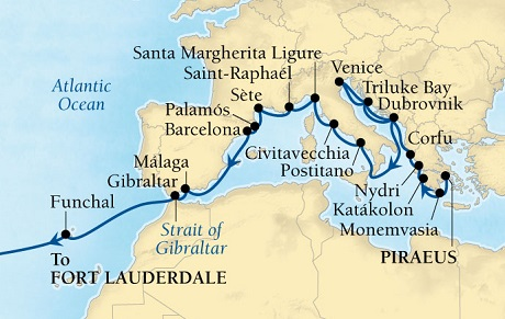LUXURY CRUISES - Penthouse, Veranda, Balconies, Windows and Suites Seabourn Odyssey Cruise Map Detail Piraeus (Athens), Greece to Fort Lauderdale, Florida, US September 26 October 18 2018 - 32 Days - Voyage 4560B