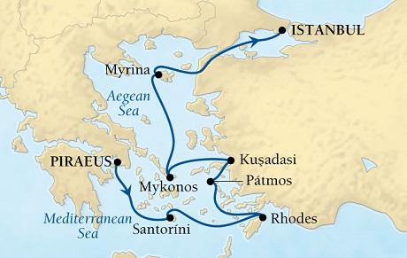 LUXURY CRUISES - Penthouse, Veranda, Balconies, Windows and Suites Seabourn Odyssey Cruise Map Detail Piraeus (Athens), Greece to Istanbul, Turkey September 5-12 2018 - 7 Days - Voyage 4554