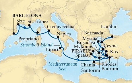 Seabourn Odyssey Cruise Map Detail Barcelona, Spain to Piraeus (Athens), Greece April 24 May 14 2016 - 20 Days - Voyage 4622A