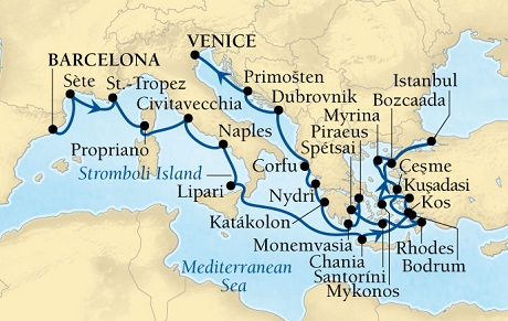 Singles Cruise - Balconies-Suites Seabourn Odyssey Cruise Map Detail Barcelona, Spain to Venice, Italy April 24 May 21 2019 - 27 Days - Voyage 4622B