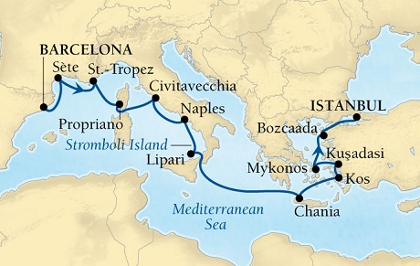 Seabourn Odyssey Cruise Map Detail Barcelona, Spain to Istanbul, Turkey April 24 May 7 2016 - 13 Days - Voyage 4622