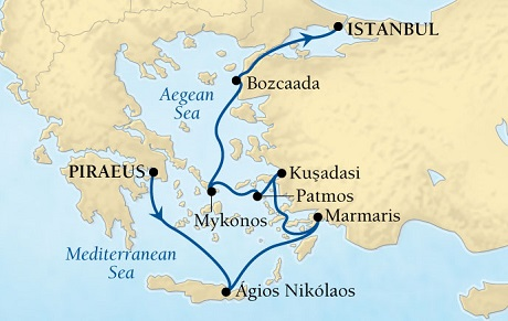 SINGLE Cruise - Balconies-Suites Seabourn Odyssey Cruise Map Detail Piraeus (Athens), Greece to Istanbul, Turkey August 20-27 2019 - 7 Nights - Voyage 4650
