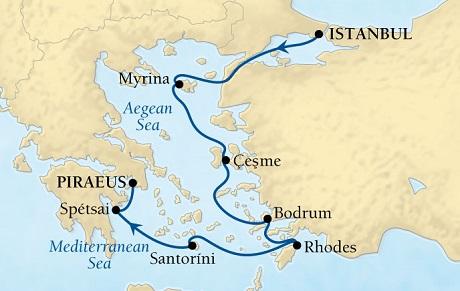 Singles Cruise - Balconies-Suites Seabourn Odyssey Cruise Map Detail Istanbul, Turkey to Piraeus (Athens), Greece August 27 September 3 2019 - 7 Days - Voyage 4651