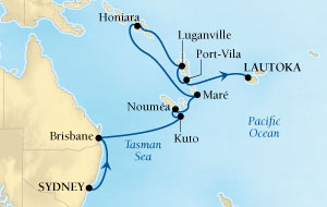 Singles Cruise - Balconies-Suites Seabourn Odyssey Cruise Map Detail Sydney, Australia to Lautoka, Fiji February 13-28 2019 - 15 Days - Voyage 4512