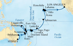 SINGLE Cruise - Balconies-Suites Seabourn Odyssey Cruise Map Detail Sydney, Australia to Los Angeles, California, US February 13 March 21 2019 - 38 Nights - Voyage 4612A