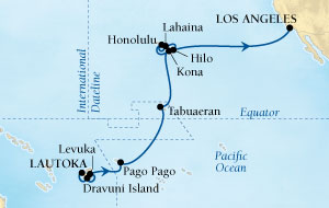 Singles Cruise - Balconies-Suites Seabourn Odyssey Cruise Map Detail Lautoka, Fiji to Los Angeles, California, US February 28 March 21 2019 - 23 Days - Voyage 4613