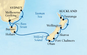 Singles Cruise - Balconies-Suites Seabourn Odyssey Cruise Map Detail Auckland, New Zealand to Sydney, Australia January 27 February 13 2019 - 17 Days - Voyage 4611