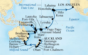 Seabourn Odyssey Cruise Map Detail Auckland, New Zealand to Los Angeles, California, US January 27 March 21 2016 - 55 Days - Voyage 4611A