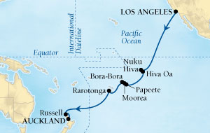 Singles Cruise - Balconies-Suites Seabourn Odyssey Cruise Map Detail Los Angeles, California, US to Auckland, New Zealand January 4-27 2019 - 22 Days - Voyage 4610
