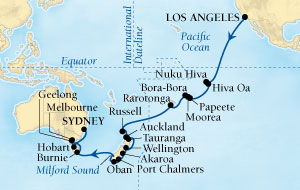 Singles Cruise - Balconies-Suites Seabourn Odyssey Cruise Map Detail Los Angeles, California, US to Sydney, Australia January 4 February 13 2019 - 39 Days - Voyage 4610A