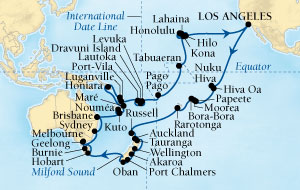 Singles Cruise - Balconies-Suites Seabourn Odyssey Cruise Map Detail Los Angeles, California, US to Los Angeles, California, US January 4 March 21 2019 - 77 Days - Voyage 4610B