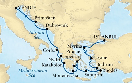 Singles Cruise - Balconies-Suites Seabourn Odyssey Cruise Map Detail Istanbul, Turkey to Venice, Italy July 30 August 13 2019 - 14 Days - Voyage 4644A