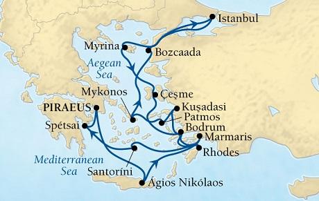 SINGLE Cruise - Balconies-Suites Seabourn Odyssey Cruise Map Detail Piraeus (Athens), Greece to Piraeus (Athens), Greece June 25 July 9 2019 - 14 Nights - Voyage 4636A
