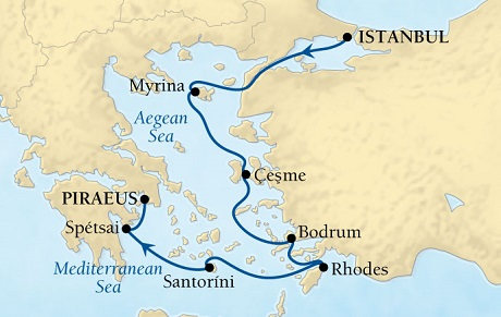 Singles Cruise - Balconies-Suites Seabourn Odyssey Cruise Map Detail Istanbul, Turkey to Piraeus (Athens), Greece June 4-11 2019 - 7 Days - Voyage 4630