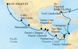 Seabourn Odyssey Cruise Map Detail Los Angeles, California, US to Barcelona, Spain March 21 April 24 2016 - 34 Days - Voyage 4618A