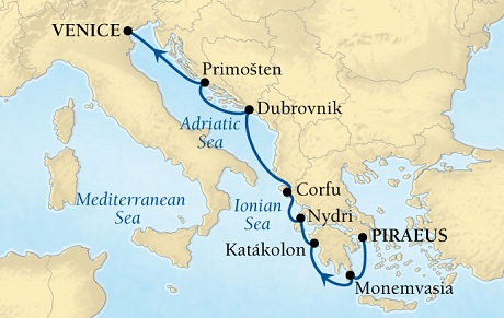 Singles Cruise - Balconies-Suites Seabourn Odyssey Cruise Map Detail Piraeus (Athens), Greece to Venice, Italy May 14-21 2019 - 7 Days - Voyage 4624