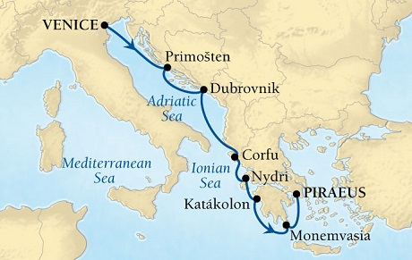 Singles Cruise - Balconies-Suites Seabourn Odyssey Cruise Map Detail Venice, Italy to Piraeus (Athens), Greece May 21-28 2019 - 7 Days - Voyage 4625