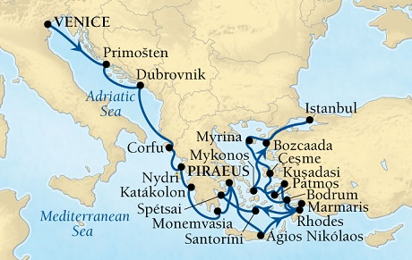 Singles Cruise - Balconies-Suites Seabourn Odyssey Cruise Map Detail Venice, Italy to Piraeus (Athens), Greece May 21 June 11 2019 - 21 Days - Voyage 4625B