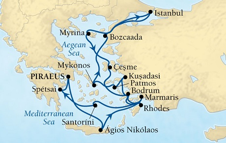 SINGLE Cruise - Balconies-Suites Seabourn Odyssey Cruise Map Detail Piraeus (Athens), Greece to Piraeus (Athens), Greece May 28 June 11 2019 - 14 Nights - Voyage 4629A