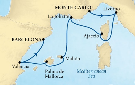 Seabourn Odyssey Cruise Map Detail Monte Carlo, Monaco to Barcelona, Spain November 16-23 2016 - 7 Days - Voyage 4672