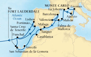 Seabourn Odyssey Cruise Map Detail Monte Carlo, Monaco to Fort Lauderdale, Florida, US November 16 December 19 2016 - 33 Days - Voyage 4672D