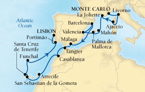 Seabourn Odyssey Cruise Map Detail Monte Carlo, Monaco to Lisbon, Portugal November 16 December 7 2016 - 21 Days - Voyage 4672C