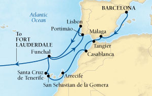 Seabourn Odyssey Cruise Map Detail Barcelona, Spain to Fort Lauderdale, Florida, US November 23 December 19 2016 - 26 Days - Voyage 4675A
