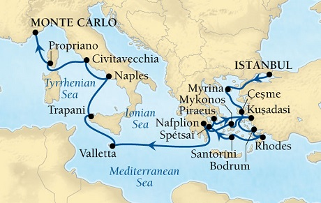 Seabourn Odyssey Cruise Map Detail Istanbul, Turkey to Monte Carlo, Monaco October22 November 8 2016 - 17 Days - Voyage 4665A