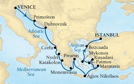 Singles Cruise - Balconies-Suites Seabourn Odyssey Cruise Map Detail Venice, Italy to Istanbul, Turkey September 10-24 2019 - 14 Days - Voyage 4653A