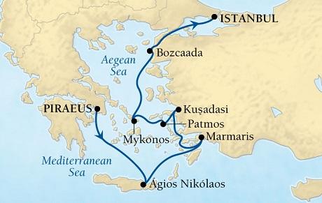 SINGLE Cruise - Balconies-Suites Seabourn Odyssey Cruise Map Detail Piraeus (Athens), Greece to Istanbul, Turkey September 17-24 2019 - 7 Nights - Voyage 4657