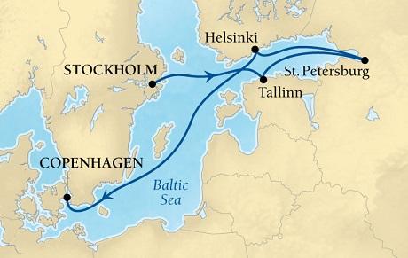 LUXURY CRUISES - Penthouse, Veranda, Balconies, Windows and Suites Seabourn Quest Cruise Map Detail Stockholm, Sweden to Copenhagen, Denmark August 1-8 2021 - 7 Days - Voyage 6539