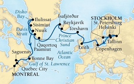 LUXURY CRUISES - Balconies and Suites Seabourn Quest Cruise Map Detail Stockholm, Sweden to Montreal, Quebec, CA August 1 September 1 2018 - 31 Days - Voyage 6539A