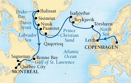 LUXURY CRUISES - Balconies and Suites Seabourn Quest Cruise Map Detail Copenhagen, Denmark to Montreal, Quebec, CA August 8 September 1 2018 - 24 Days - Voyage 6540