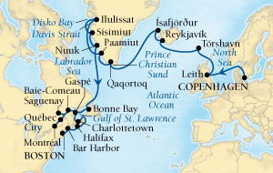LUXURY CRUISES - Penthouse, Veranda, Balconies, Windows and Suites Seabourn Quest Cruise Map Detail Copenhagen, Denmark to Boston, Massachusetts, US August 8 September 11 2018 - 34 Days - Voyage 6540A