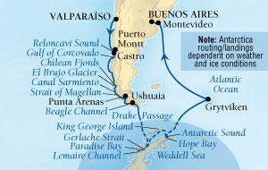 Seabourn Quest Cruise Map Detail Valparaiso (Santiago), Chile to Buenos Aires, Argentina December 20 2015 January 13 2016 - 24 Days - Voyage 6561