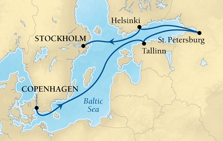 LUXURY CRUISES - Penthouse, Veranda, Balconies, Windows and Suites Seabourn Quest Cruise Map Detail Copenhagen, Denmark to Stockholm, Sweden July 25 August 1 2018 - 7 Days - Voyage 6538