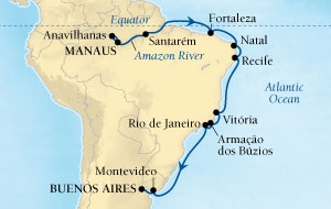 LUXURY CRUISES - Balconies and Suites Seabourn Quest Cruise Map Detail Manaus, Brazil to Buenos Aires, Argentina November 9-29 2018 - 20 Days - Voyage 6555