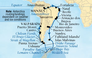 LUXURY CRUISES - Balconies and Suites Seabourn Quest Cruise Map Detail Manaus, Brazil to Valparaiso (Santiago), Chile November 9 December 20 2018 - 41 Days - Voyage 6555A