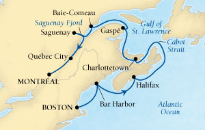 LUXURY CRUISES - Balconies and Suites Seabourn Quest Cruise Map Detail Boston, Massachusetts, US to Montreal, Quebec, CA October 1-11 2018 - 10 Days - Voyage 6548