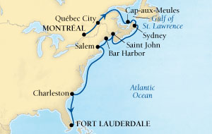 LUXURY CRUISES - Balconies and Suites Seabourn Quest Cruise Map Detail Montreal, Quebec, CA to Fort Lauderdale, Florida, US October 11-25 2018 - 14 Days - Voyage 6549